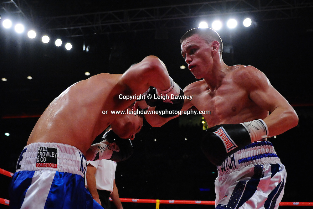Kevin Satchell defeats Iain Butcher to retain the British Flyweight Title at the Echo Arena, Liverpool on 6th July 2013. Credit: © Leigh Dawney Photography. Self Billing where applicable. Tel: 07812 790920