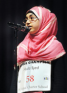 Huda Syed of PA Virtual Charter School spells a word during the Scripps Regional Spelling Bee at Penn Central Middle School Saturday March 12, 2016 in Perkasie, Pennsylvania. (Photo by William Thomas Cain)