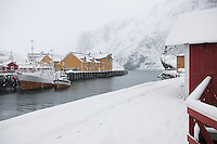 Fishing harbour in Nusfjord Flakstadoya. Loftofen Archipelago Norway