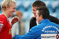 Fotball Adeccoligaen <br />Sandnes Idrettspark 121008<br />Sandnes Ulf - Sandefjord<br />Foto: SIgbjørn Andreas Hofsmo, Digitalsport<br /><br />Alexander Gabrielsen - Øyvind Svenning - Patrick Walker