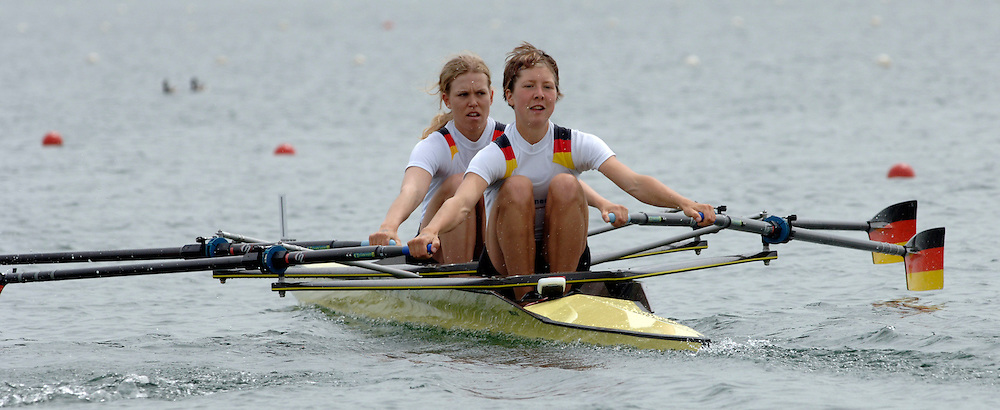 2005 FISA World Cup, Dorney Lake, Eton, ENGLAND, 26.05.05. [Thursday am] GER LW2X Bow Berit Carow and Lusch Tasch. Photo  Peter Spurrier. .email images@intersport-images...[Mandatory Credit Peter Spurrier/ Intersport Images] , Rowing Courses, Dorney Lake, Eton. ENGLAND