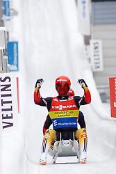 24.01.2015, Bobbahn, Winterberg, GER, Viessmann Rennrodel Weltcup, Winterberg, im Bild EGGERT, Toni / BENECKEN, Sascha (GER), Freude im Ziel ueber Platz 1 // during Viessmann Luge World Cup at the Bobbahn in Winterberg, Germany on 2015/01/24. EXPA Pictures © 2015, PhotoCredit: EXPA/ Eibner-Pressefoto/ Spiegelberg<br /> <br /> *****ATTENTION - OUT of GER*****