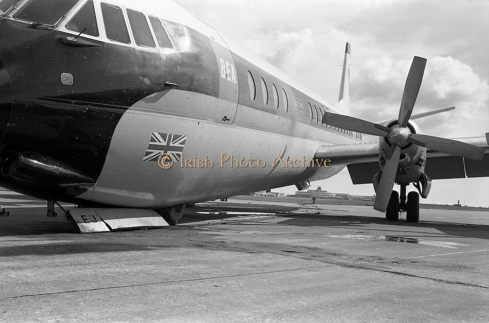 29/03/1963<br /> 03/29/1963<br /> 29 March 1963<br /> B.E.A. Aircrash at Dublin Airport. The crashed BEA Vanguard G-APEJ that carried 43 passengers and seven crew from London to Dublin. The Airport Terminal can be seen 1/2 mile in background.