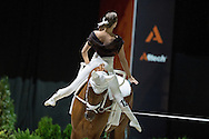 Daniela Fritz, (AUT), Caramel, Maria Lehrmann - Individuals Women Technical Vaulting - Alltech FEI World Equestrian Games&trade; 2014 - Normandy, France.<br /> &copy; Hippo Foto Team - Jon Stroud<br /> 04/09/2014