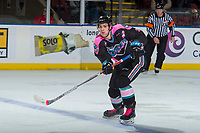 KELOWNA, CANADA - OCTOBER 21: Libor Zabransky #7 of the Kelowna Rockets passes the puck over the blue line against the Portland Winterhawks on October 21, 2017 at Prospera Place in Kelowna, British Columbia, Canada.  (Photo by Marissa Baecker/Shoot the Breeze)  *** Local Caption ***