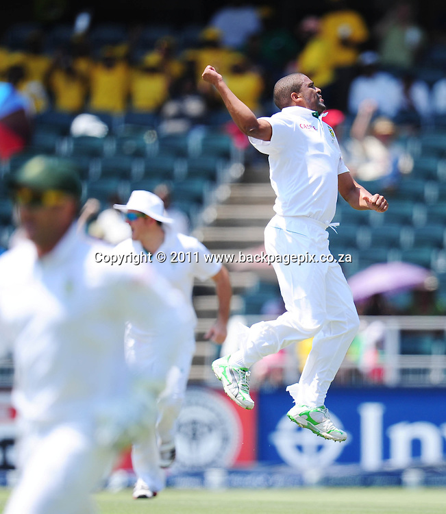 Vernon Philander of South Africa celebrates tacking the wicket of Phil Hughes of Australia <br /> &copy; Barry Aldworth/Backpagepix