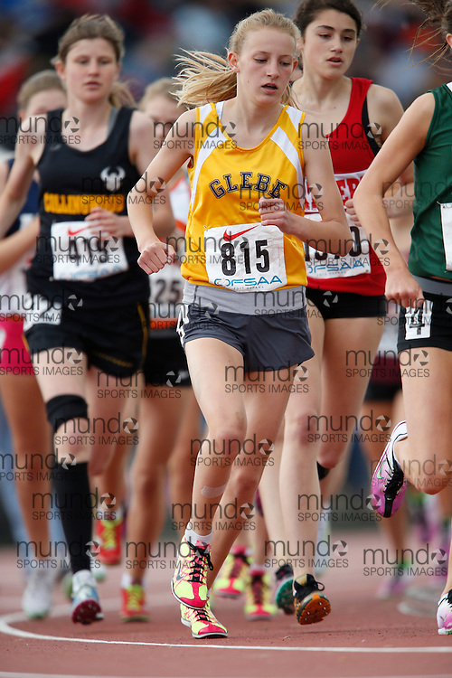 Katherine Marshall of Glebe CI - Ottawa competes in the midget girls 3000m at the 2013 OFSAA Track and Field Championship in Oshawa Ontario, Saturday, June 8, 2013.<br /> Mundo Sport Images/ Geoff Robins