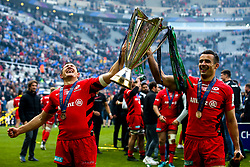 Alex Goode of Saracens and Alex Lozowski of Saracens celebrate winning the Heineken Champions Cup after beating Leinster Rugby in the Final - Mandatory by-line: Robbie Stephenson/JMP - 11/05/2019 - RUGBY - St James' Park - Newcastle, England - Leinster Rugby v Saracens - Heineken Champions Cup Final