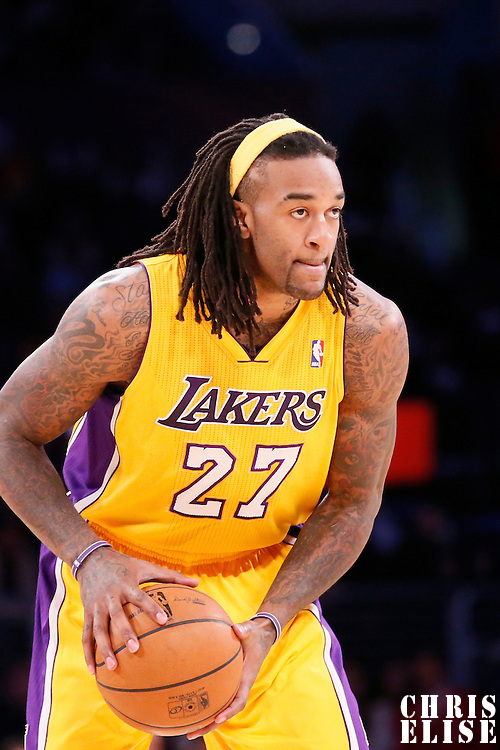 10 December 2013: Los Angeles Lakers center Jordan Hill (27) looks to pass the ball during the Phoenix Suns 114-108 victory over the Los Angeles Lakers at the Staples Center, Los Angeles, California, USA.