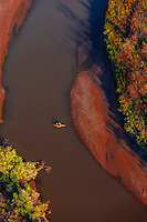 Aerial view of kayakers on the Rio Grande River, Albuquerque, New Mexico USA