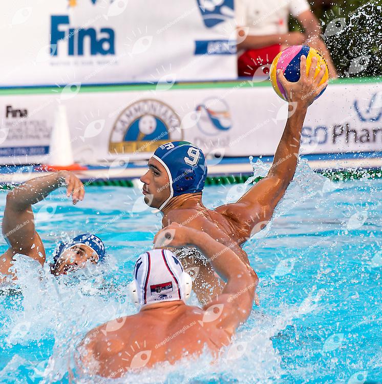 9 GITTO Niccolo' ITA<br /> Serbia SRB (white) - Italy ITA (blue)<br /> day 02 - 24/06/2015<br /> FINA Water Polo World League Superfinal Men<br /> Bergamo (ITA) 23-28 June 2015<br /> Photo G.Scala/Deepbluemedia