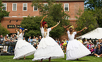 SambaViva a Brazilian dance group performthe Baiana dance at Rotary Park during Laconia's Multicultural Festival on Saturday.  (l-r Mariona Lloreta, Randi Henry and Ines Ouedraogo.  (Karen Bobotas/for the Laconia Daily Sun)