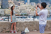 MONACO, MONACO - JUNE 17, 2015: Unidentified asian couple make photo at the viewpoint in Monaco.