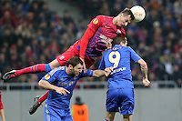 Chelsea's Fernando Torres (C) vies with Steaua Bucharest's Lukasz Szukala (L) during the first leg of the UEFA Europa League round of 16 football match between Steaua Bucharest and Chelsea at the National Arena Stadium in Bucharest on March 7, 2013.