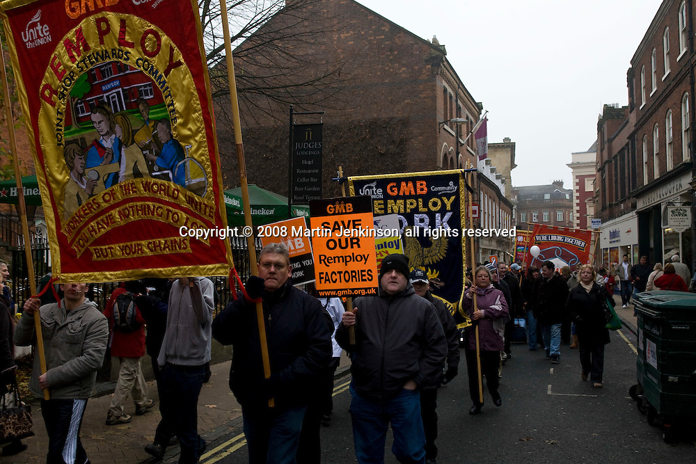 Remploy March York 29-11-08...© Martin Jenkinson, tel 0114 258 6808 mobile 07831 189363 email martin@pressphotos.co.uk. Copyright Designs & Patents Act 1988, moral rights asserted credit required. No part of this photo to be stored, reproduced, manipulated or transmitted to third parties by any means without prior written permission