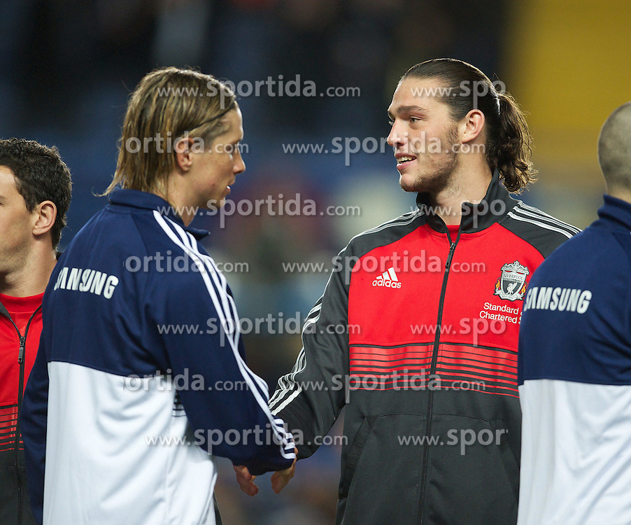 29.11.2011, Stamford Bridge, London, ENG, PL, viertelfinale, FC Liverpool vs Chelsea FC, im Bild Liverpool's Andy Carroll and Chelsea's Fernando Torres before the football match of English Football League Cup, Quarter-Final, between FC Liverpool and Chelsea FC at Stamford Bridge Stadium, London, United Kingdom on 2011/11/29. EXPA Pictures © 2011, PhotoCredit: EXPA/ Sportida/ David Rawcliff..***** ATTENTION - OUT OF ENG, GBR, UK *****