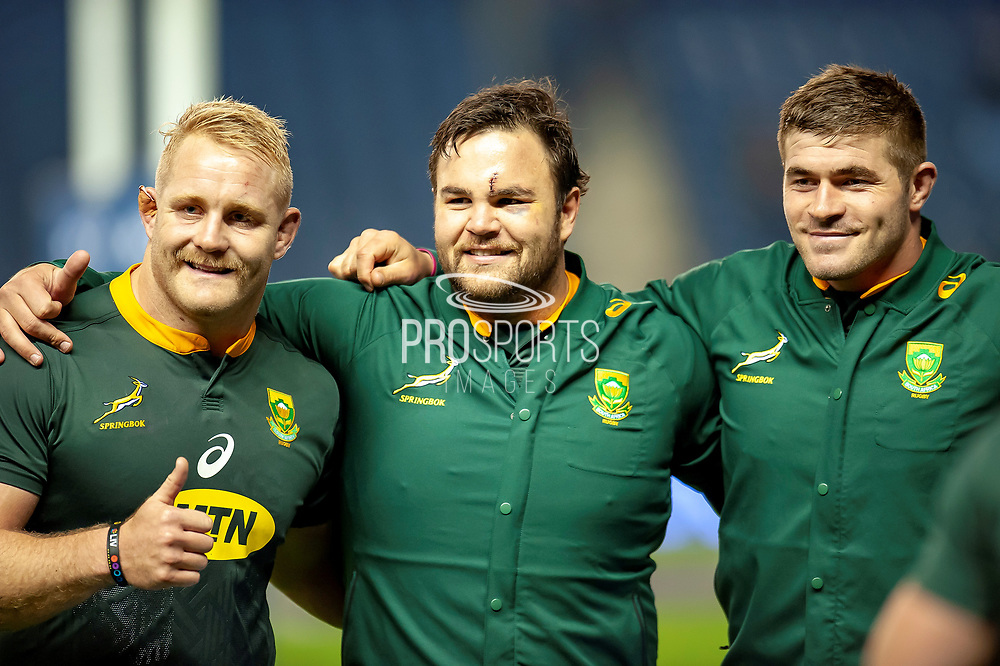 (LtoR) Vincent Koch (#18) (Saracens), Frans Malherbe (#3) (DHL Western Province) and Malcolm Marx (#2) (Xerox Golden Lions) of South Africa are all smiles after the Autumn Test match between Scotland and South Africa at the BT Murrayfield Stadium, Edinburgh, Scotland on 17 November 2018.