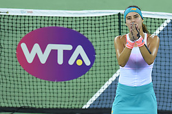 WUHAN, Sept. 24, 2017 Sorana Cirstea of Romania celebrates after the singles' first round match against Wang Yafan of China at 2017 WTA Wuhan Open in Wuhan, capital of central China's Hubei Province, on Sept. 24, 2017. Sorana Cirstea won 2-0.  wll) (Credit Image: © Ou Dongqu/Xinhua via ZUMA Wire)