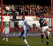 Dundee's Ryan Conroy comes close with a header which was brilliantly saved by Kilmarnock keeper Cameron Bell - Dundee v Kilmarnock, William Hill Scottish FA Cup 4th Round,..- © David Young - .5 Foundry Place - .Monifieth - .DD5 4BB - .Telephone 07765 252616 - .email; davidyoungphoto@gmail.com - .web; www.davidyoungphoto.co.uk.