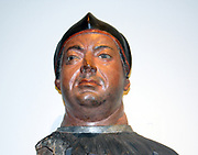 Cardinal Giovanni De' Medici (circa 1512) became Pope Leo X in 1513, is shown here while still a cardinal.  Made from a life cast of Giovanni's face, the bust in naturalistically painted, including his stubble.  Italy, Florence, Terracotta, painted.