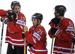 Patrick Sharp, Martin St.Louis and Ed Jovanovski of Canada at ice-hockey game Canada vs Germany in Qualifying Round Group F, at IIHF WC 2008 in Halifax,  on May 10, 2008 in Metro Center, Halifax, Nova Scotia,Canada. Canada won 11:1. (Photo by Vid Ponikvar / Sportal Images)