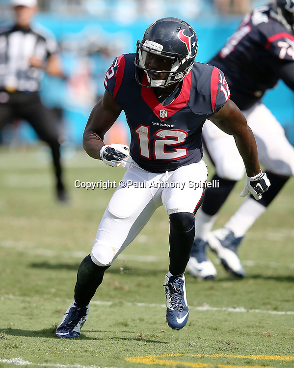 Houston Texans wide receiver Keith Mumphery (12) goes out for a pass during the 2015 NFL week 2 regular season football game against the Carolina Panthers on Sunday, Sept. 20, 2015 in Charlotte, N.C. The Panthers won the game 24-17. (©Paul Anthony Spinelli)