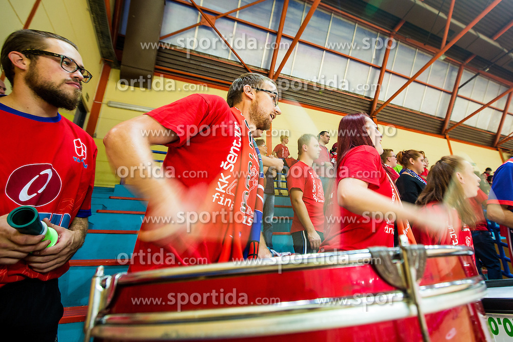 Fans of KK Tajfun Sentjur during basketball match between KK Krka Novo mesto and KK Tajfun Sentjur at Superpokal 2015, on September 26, 2015 in SKofja Loka, Poden Sports hall, Slovenia. Photo by Grega Valancic / Sportida.com