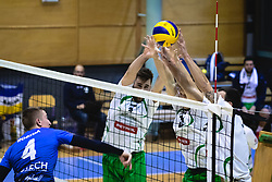 Robida Denis of Šoštanj Topolšica trying to win a point vs. defence of Panvita Pomgrad during volleyball match between Panvita Pomgrad and Šoštanj Topolšica of 1. DOL Slovenian National Championship 2019/20, on December 14, 2019 in Osnovna šola I, Murska Sobota, Slovenia. Photo by Blaž Weindorfer / Sportida