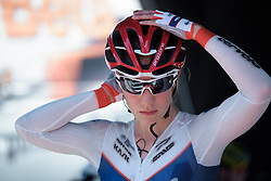 Clara Koppenburg waits to be called to the start ramp on Stage 5 of the Giro Rosa - a 12.7 km individual time trial, starting and finishing in Sant'Elpido A Mare on July 4, 2017, in Fermo, Italy. (Photo by Sean Robinson/Velofocus.com)