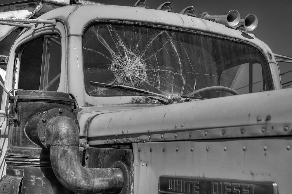 White Diesel Cab Cracked Windshield Close - Motor Transport Museum - Campo, CA - Black & White