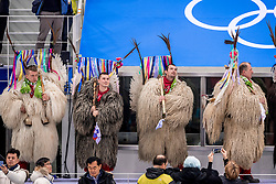 GANGNEUNG, SOUTH KOREA - FEBRUARY 20: Kurenti, Supporters of Slovenia during Ice - Hockey match between National Teams of Slovenia and Norway in the Men's Play-offs Qualifications on day eleven of the PyeongChang 2018 Winter Olympic Games at Gangneung Hockey Centre on February 20, 2018 in Gangneung, South Korea.  Photo by Ronald Hoogendoorn / Sportida