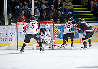 KELOWNA, CANADA, NOVEMBER 23: Devon Fordyce #35 of the Prince George Cougars makes a save as the Prince George Cougars visit the Kelowna Rockets  on November 23, 2011 at Prospera Place in Kelowna, British Columbia, Canada (Photo by Marissa Baecker/Shoot the Breeze) *** Local Caption *** Devon Fordyce;
