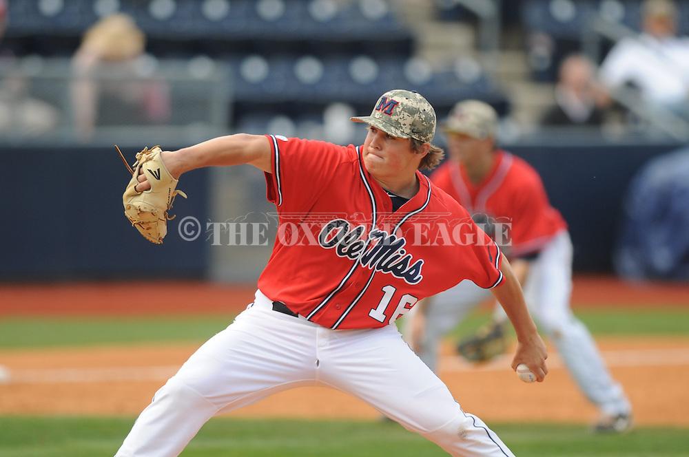 Ole Miss' Matt Denny (16) pitches vs. Vanderbilt at Oxford-University Stadium Stadium in Oxford, Miss. on Sunday, April 7, 2013. Vanderbilt won 7-6 in 11 innings.