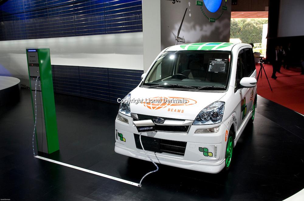 Subaru electric car at the Tokyo Motorshow. October 2009.