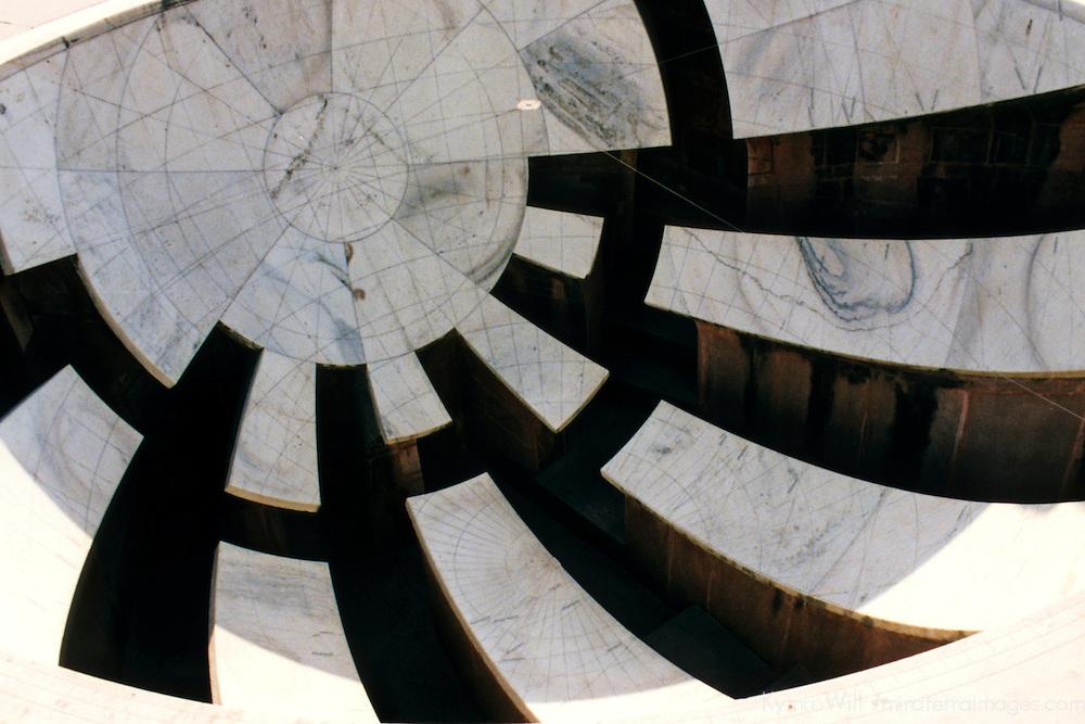 Asia, India, Jaipur. A sundial at the Jantar Mantar Observatory in Jaipur.