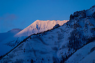 Winter snows cover the San Juan Mountains at sunset near Telluride, Colorado