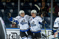 KELOWNA, CANADA - OCTOBER 5: Brandon Cutler #29 and Kaid Oliver #34 of the Victoria Royals celebrate a first period goal against the Kelowna Rockets on October 5, 2018 at Prospera Place in Kelowna, British Columbia, Canada.  (Photo by Marissa Baecker/Shoot the Breeze)  *** Local Caption ***