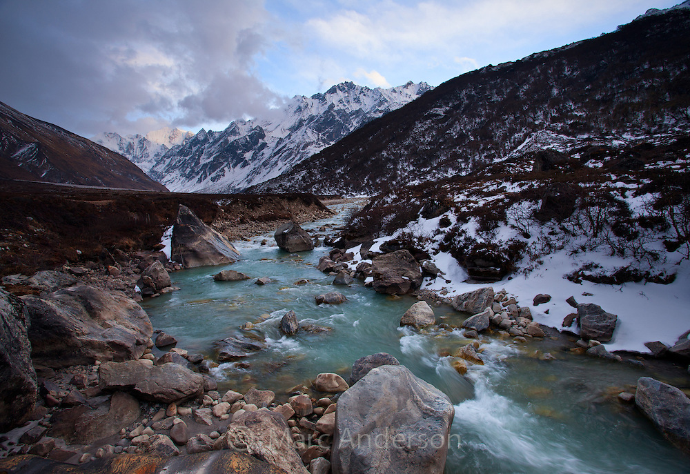 Beautiful mountain river flowing through the Langtang Valley, Nepal