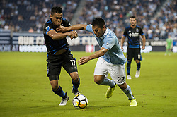 August 9, 2017 - Kansas City, Kansas, United States - Kansas City, KS - Wednesday August 9, 2017: Darwin Cerén and Roger Espinoza during a Lamar Hunt U.S. Open Cup Semifinal match between Sporting Kansas City and the San Jose Earthquakes at Children's Mercy Park. (Credit Image: © Amy Kontras/ISIPhotos via ZUMA Wire)