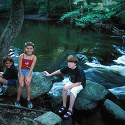 Kids enjoying the Mianus River at the Treetops Estate.  Purchased by the TPL for the Greenwich Land Trust and the State of CT in 2001.  Greenwich, CT