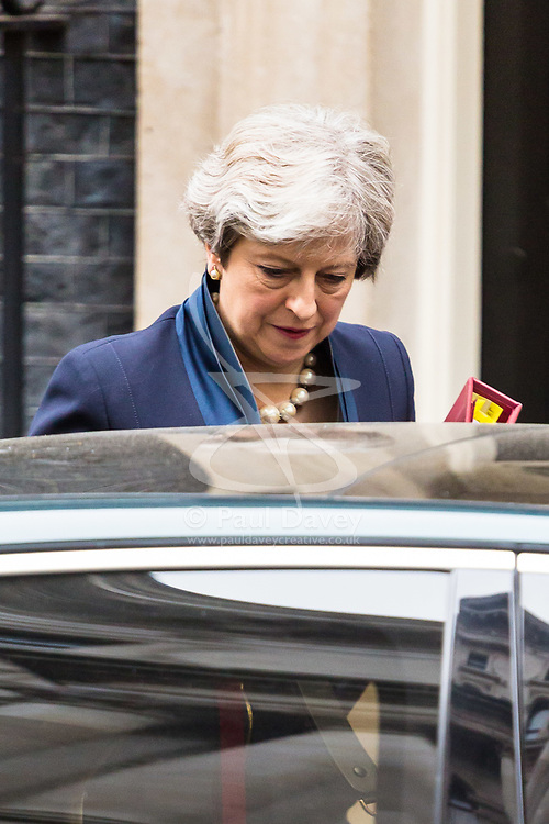 London, November 01 2017. British Prime Minister Theresa May leaves 10 Downing Street to attend Prime Minister's Questions in the House of Commons.. © Paul Davey