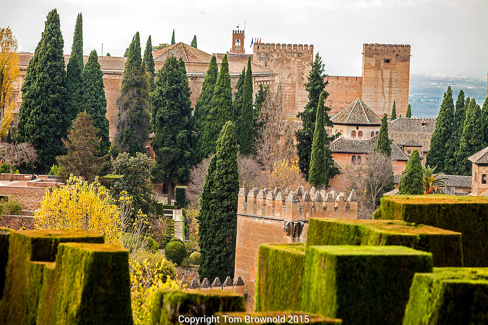 Alhambra gardens, fountains, fortress