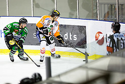 06.01.2015, Hala Tivoli, Ljubljana, SLO, EBEL, HDD Telemach Olimpija vs Moser Medical Graz 99ers, 36. Runde, in picture Manuel Ganahl (Moser Medical Graz 99ers, #17) and Luka Kalan (HDD Telemach Olimpija, #61) during the Erste Bank Icehockey League 36. Round between HDD Telemach Olimpija and Moser Medical Graz 99ers at the Hala Tivoli, Ljubljana, Slovenia on 2015/01/06. Photo by Matic Klansek Velej / Sportida
