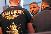Kell Brook talks to his trainer during the Kell Brook vs Mark DeLuca Weigh-In at the Millennium Gallery, Arundel Gate, Sheffield, United Kingdom on 7 February 2020.