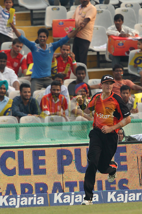 Joel PARIS of the Perth Scorchers celebrates the wicket of Keshav MAHARAJ of the Dolphins  during match 4 of the Oppo Champions League Twenty20 between the Dolphins and the Perth Scorchers held at the Punjab Cricket Association Stadium, Mohali, India on the 20th September 2014<br /> <br /> Photo by:  Ron Gaunt / Sportzpics/ CLT20<br /> <br /> <br /> Image use is subject to the terms and conditions as laid out by the BCCI/ CLT20.  The terms and conditions can be downloaded here:<br /> <br /> http://sportzpics.photoshelter.com/gallery/CLT20-Image-Terms-and-Conditions-2014/G0000IfNJn535VPU/C0000QhhKadWcjYs