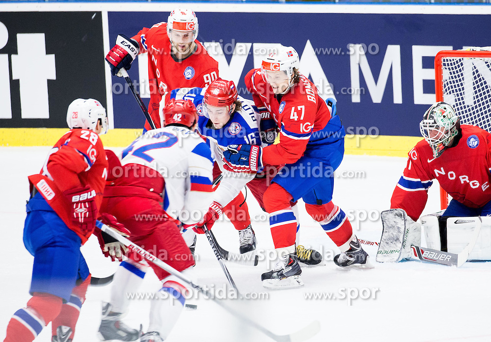 Sergei Plotnikov of Russia vs Alexander Bonsaksen of Norway and Lars Volden of Norway during Ice Hockey match between Russia and Norway at Day 1 in Group B of 2015 IIHF World Championship, on May 1, 2015 in CEZ Arena, Ostrava, Czech Republic. Photo by Vid Ponikvar / Sportida