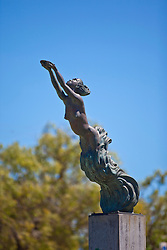 "The beautiful statue of a female pearl diver on the Conti Foreshore represents a pregnant Aboriginal diver.  The statue encapsulates the contribution of women to the pearling industry.  The inscription reads ""And precious the tear as that rain from the sky, Which turns into pearls as it falls in the sea"" (Thomas Moore).  The location represents the  place where families of indentured labourers were houses, awaiting their of their loved ones at the end of the neap tides...The Conti foreshore provided an open view of the bay in the days before the luggers were equipped with radios."