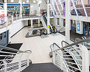 Escalators inside the Shires shopping centre, Trowbridge, Wiltshire, England, UK