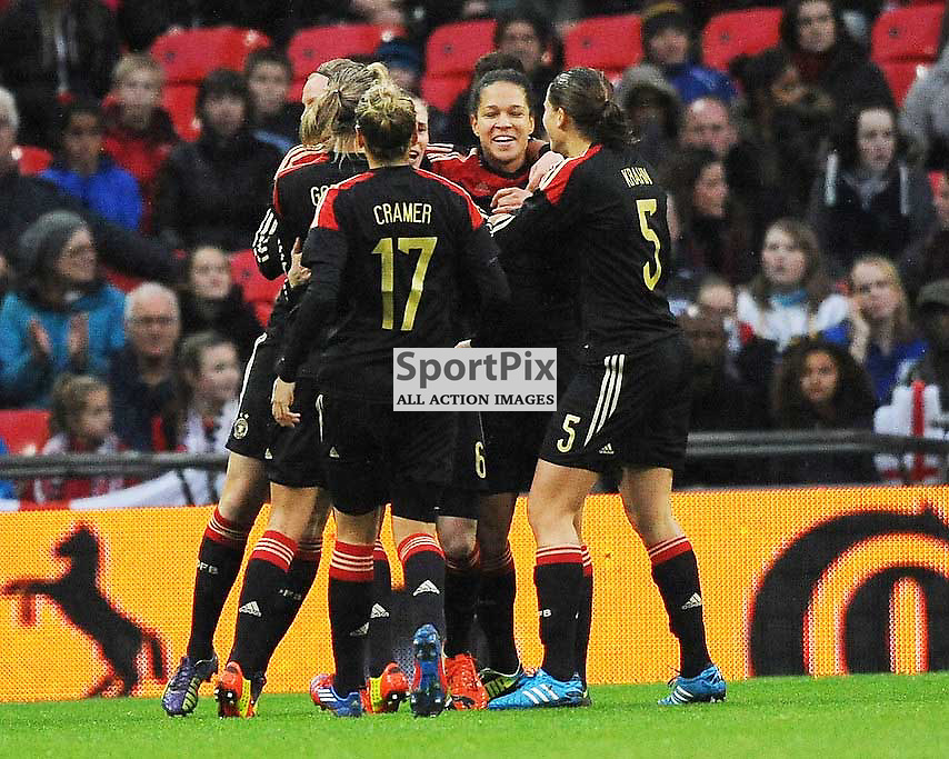 Germany Celebrate Their First Goal at Wembley, England v Germany Ladies, Breast Cancer Care International, Wembley , Sunday 23rd November 2014