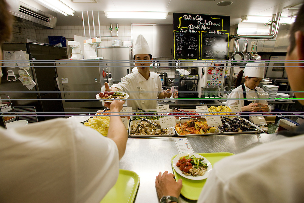 Students Chose between  5 different  cuisines in.Tokyo's Toyo University's  New  Food court one of the many  improvments being developed to help  Japan's Universities compete for an ever decreasing levels of student enrollment  due to declining population.  A  decline in the Japanese birthrate has cause school closings nationwide which is reflected in Primary and High School consolidations and closings and recently is effecting Universities as well.